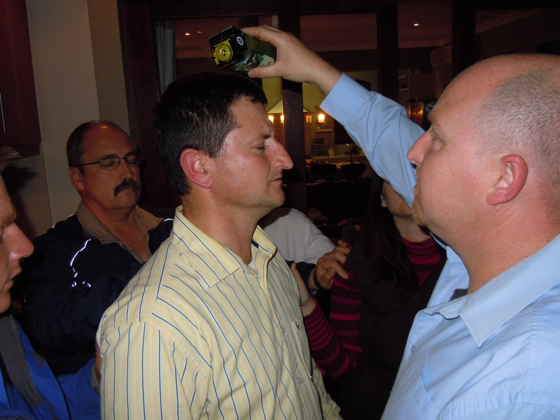Anointing oil over Pastor J.T le Roux